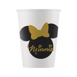 8 Gobelets en carton Minnie Gold - 16 cl