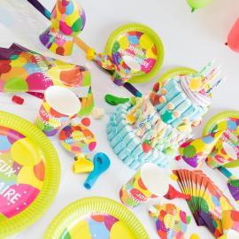 Méga Kit Anniversaire 12 Personnes Joyeux Anniversaire Pop - My Party Kidz