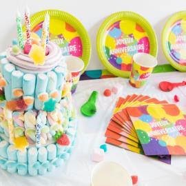 Kit Anniversaire 12 Personnes Joyeux Anniversaire Pop - My Party Kidz