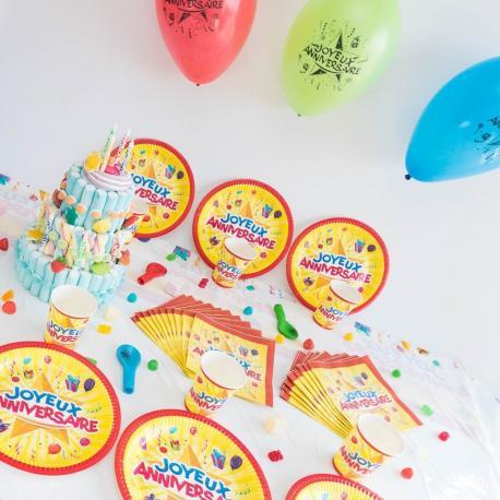 Kit Anniversaire 12 Personnes Joyeux Anniversaire - My Party Kidz