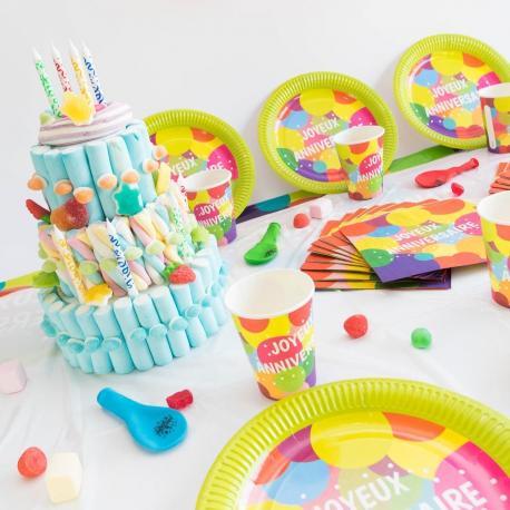 Kit Anniversaire 6 Personnes Joyeux Anniversaire Pop - My Party Kidz