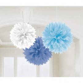 3 Décorations Pompons Fluffy bleu
