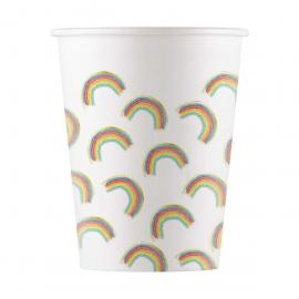 8 Gobelets en carton Rainbow - 20 cl - My Party Kidz