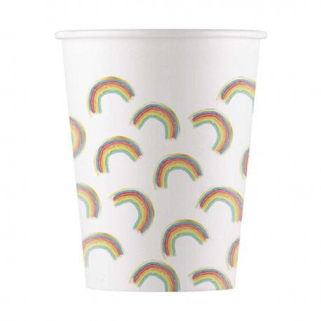 8 Gobelets en carton Rainbow - 20 cl - My Party Kidz