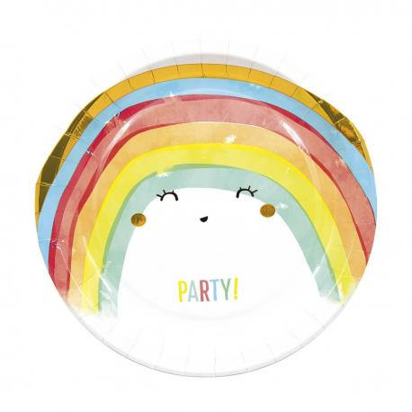 8 Assiettes en caton Rainbow - 23 cm - My Party Kidz