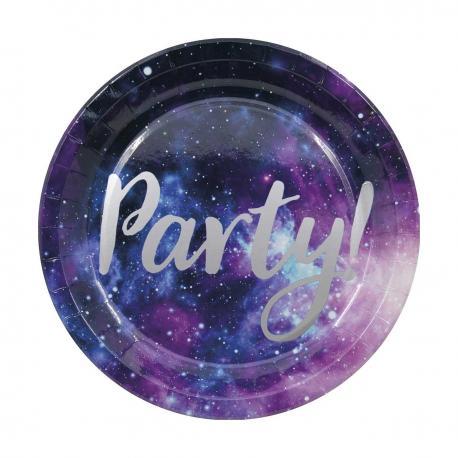8 Assiettes en carton Galaxie - 23 cm - My Party Kidz