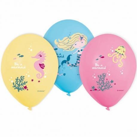 6 Ballons imprimés Sirène - My Party Kidz