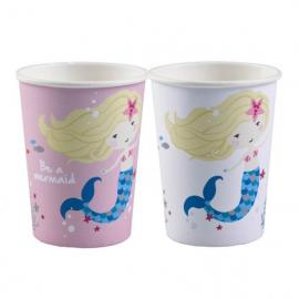 8 Gobelets en carton Sirène - 25 cl - My Party Kidz