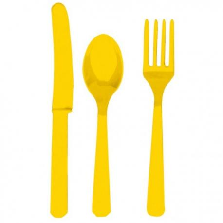 24 couverts assortis jaunes - My Party Kidz