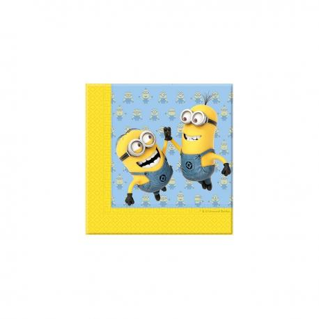 20 Serviettes en papier Les Minions - 33 x 33 cm - My Party Kidz