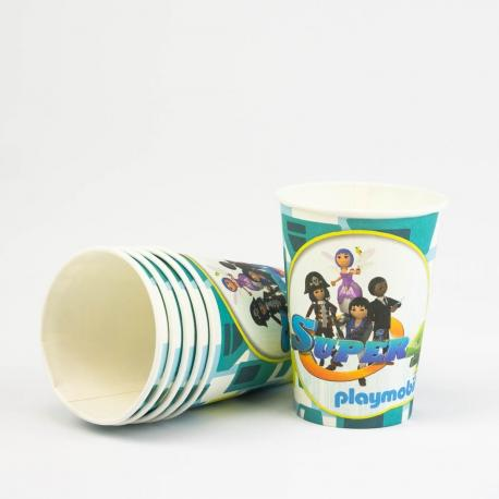 6 Gobelets en carton Playmobil Super 4 - 25 cl - My Party Kidz