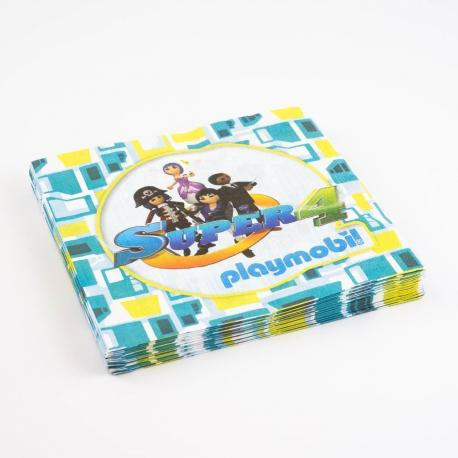 20 Serviettes en papier Playmobil Super 4 - 33 x 33 cm - My Party Kidz