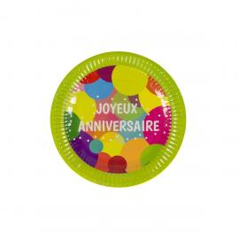 6 petites Assiettes en carton Joyeux Anniversaire Pop - 18 cm - My Party Kidz
