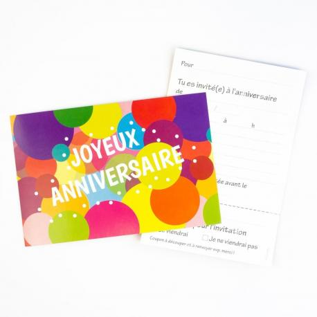 6 Invitations Joyeux Anniversaire Pop - My Party Kidz