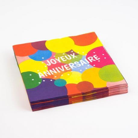 20 Serviettes en papier Joyeux Anniversaire Pop - 33 x 33 cm - My Party Kidz