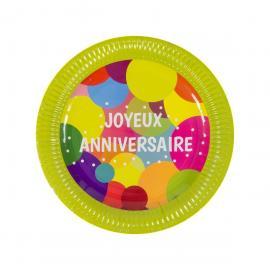 6 Assiettes en carton Joyeux Anniversaire Pop - 23 cm - My Party Kidz