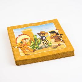 20 Serviettes en papier Cowboys Indiens - 33 x 33 cm - My Party Kidz