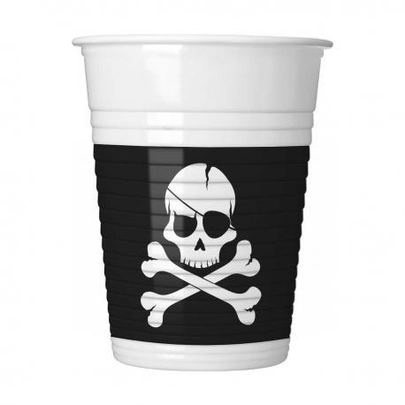 8 Gobelets en plastique Pirate Black - 20 cl - My Party Kidz