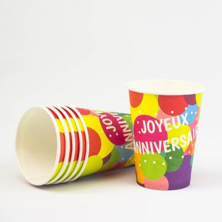 6 Gobelets en carton Joyeux Anniversaire Pop - 25 cl - My Party Kidz