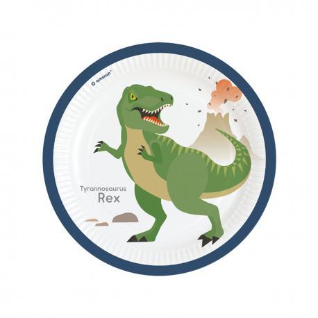 8 Assiettes en carton Dinosaure - 23 cm - My Party Kidz