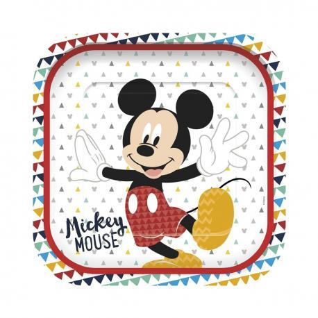 4 Assiettes premium en carton Mickey Awesome - 24 cm - My Party Kidz
