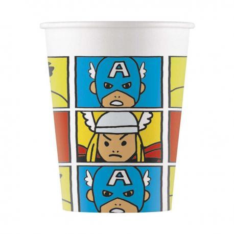 8 Gobelets en carton Avengers Pop Comic - 20 cl - My Party Kidz