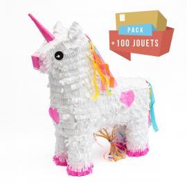 Pack pinata Licorne + 100 jouets - My Party Kidz