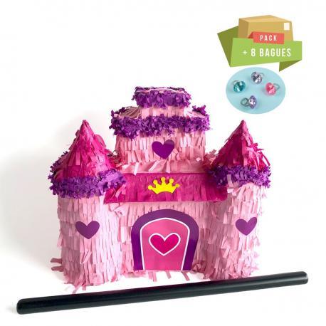 Pack pinata Chateau de Princesse + 8 Bagues géantes - My Party Kidz