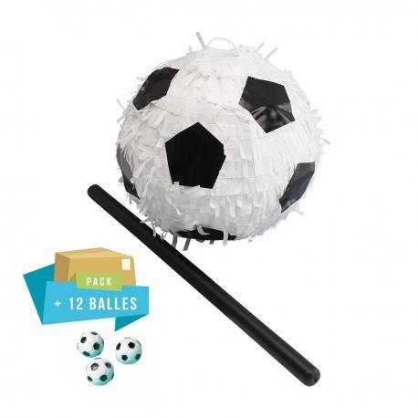 Pack pinata Ballon Foot + 12 Balles de foot rebondissantes - My Party Kidz
