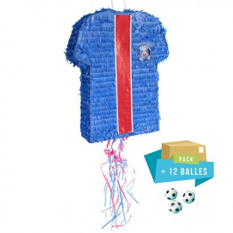 Pack pinata Maillot PSG + 12 balles rebondissantes - My Party Kidz