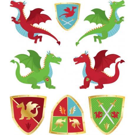 16 Tatouages Dragons Chevaliers - My Party Kidz