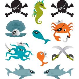22 Tatouages Pirates de la mer - My Party Kidz