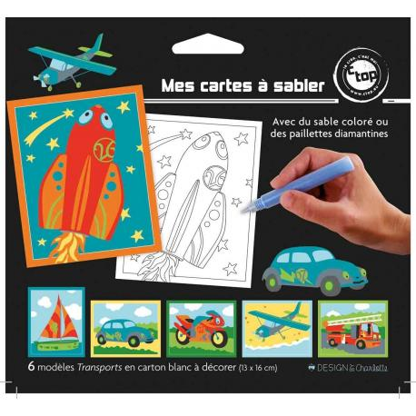 6 Cartes à sabler Transports - My Party Kidz