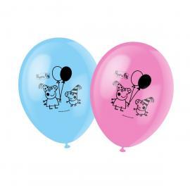 6 Ballons imprimés Peppa Pig - Bleu et Rose