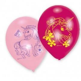 6 Ballons imprimés Licorne - 23 cm