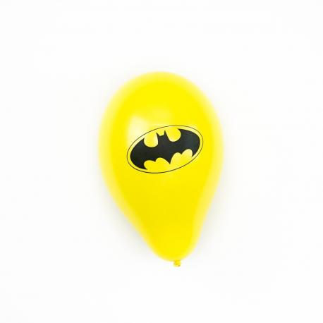 6 Ballons jaunes imprimés Batman - My Party Kidz