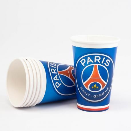 6 Gobelets en carton PSG Football - 33 cl - My Party Kidz