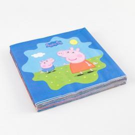 20 Serviettes Peppa Pig en papier - 33 x 33 cm